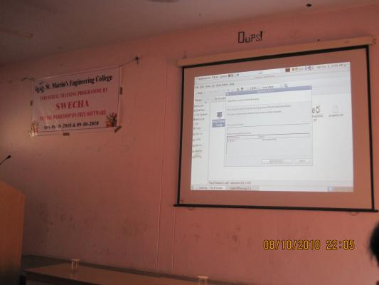 Two day workshop on Free Software by Swecha Software Freedom Fortnight