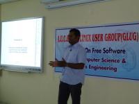 Bhuvan Krishna briefing attendees about free software