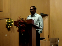 Prof. L. Pratap Addressing the audience at Computer Freedom Seminar